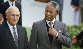 Mandela (shown with then-President F.W. de Klerk) emerged from his 27-year ordeal without bitterness.