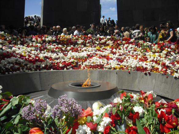 The ceremony earlier today at the Genocide Memorial in Armenia