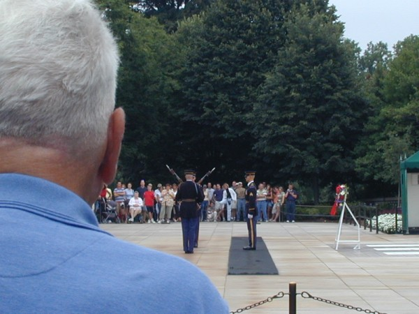 World War II veteran Walter S. Buist watches the changing of the guard at the Tomb of the Unknown Soldier. His country has changed, too, and not necessarily for the better.